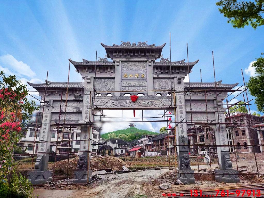 广东省揭东县单门牌楼门头设计施工图大全